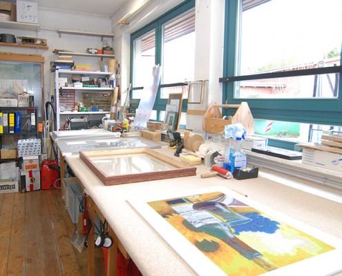 Die Werkstatt der Glaserei Schulz in Kiel Heikendorf