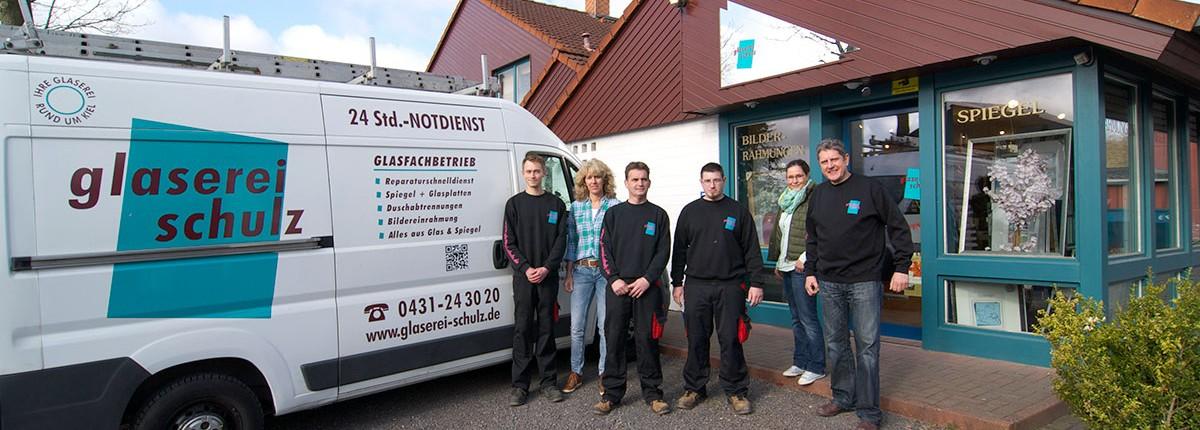 Das Team der Glaserei Schulz, Kiel Heikendorf